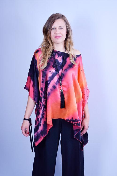 "Hand-painted Silk Satin Kaftan ""Sunset"""