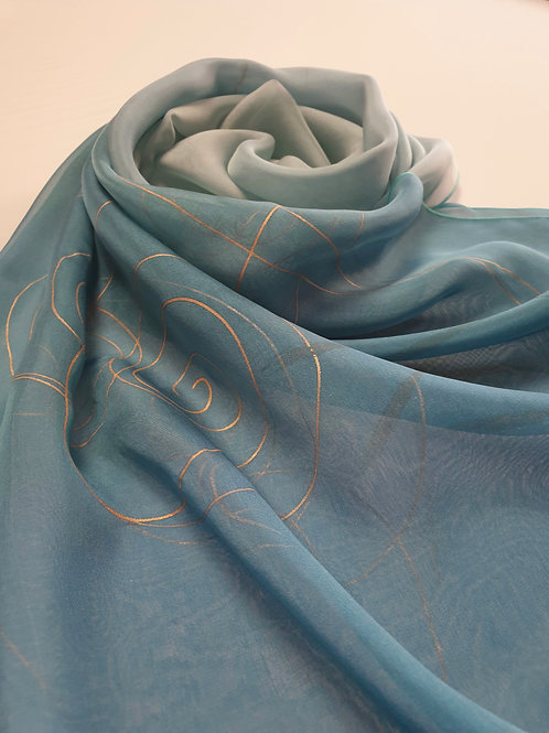 Hand-painted 100% Silk Scarf SC0088