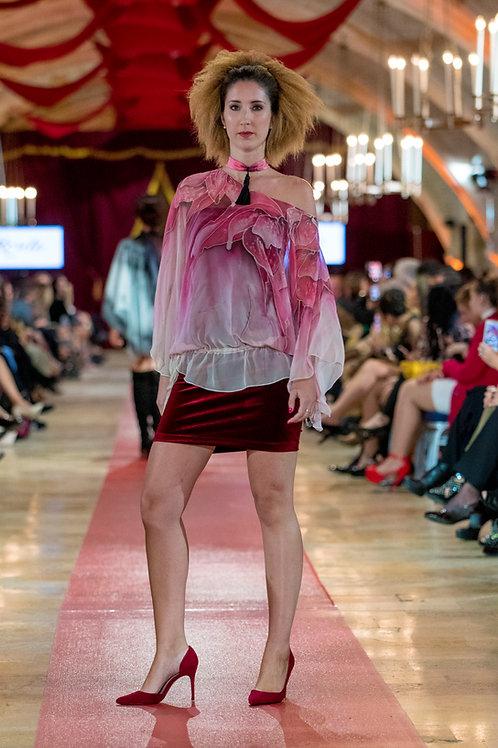 "Hand-painted Non-Silk Kaftan-Blouse ""Rose Pink"""