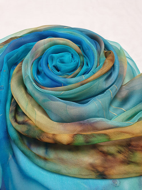Hand-painted 100% Pure Silk Scarf in Blue, Green, Mustard  SC1066