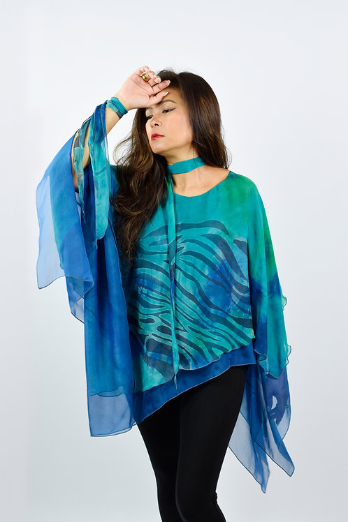 """Hand-painted Silk Poncho """"Green Lines"""""""