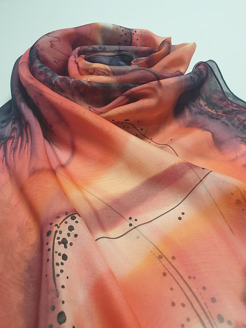Hand-painted 100% Silk Scarf SC0090