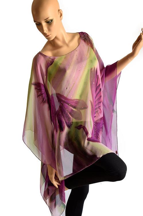 "Hand-painted Silk Kaftan ""Purple Birds"""