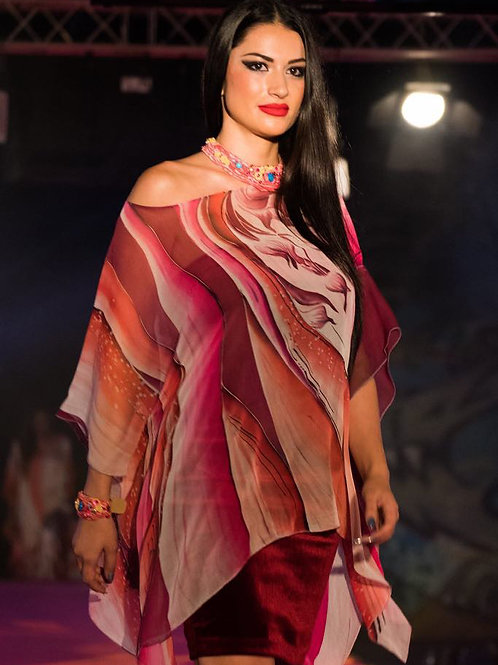 "Hand-painted Silk Kaftan ""Imperial Purple"""