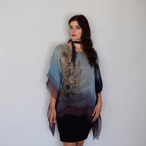 Hand-painted Silk Kaftan