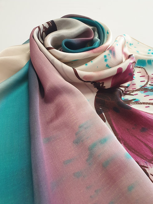 Hand-painted 100% Silk Scarf SC0101