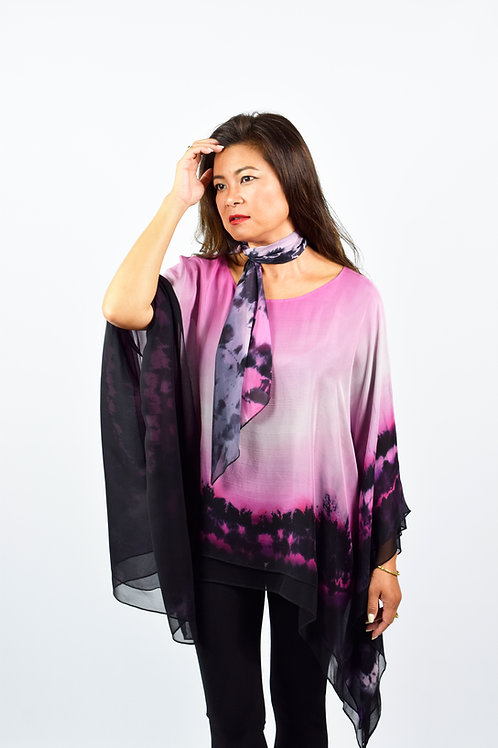 "Hand-painted Silk Kaftan ""Dull Pink"""