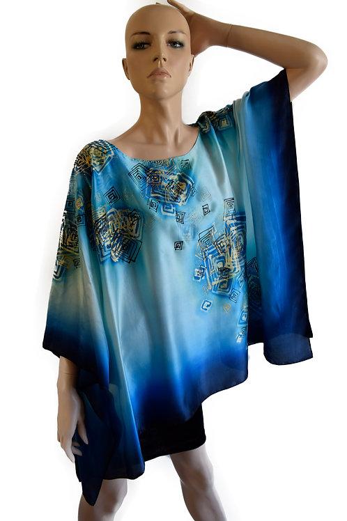 """Hand Painted Silk Kaftan """"Maze"""""""