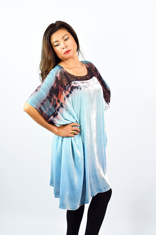 "Hand-painted Silk-Velvet Dress ""Pale blue"""