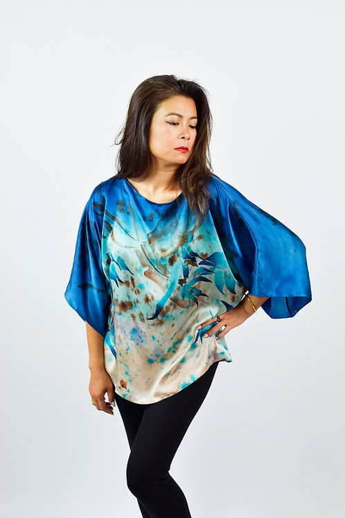 """Hand-painted Silk Blouse """"Brown Flowers"""""""