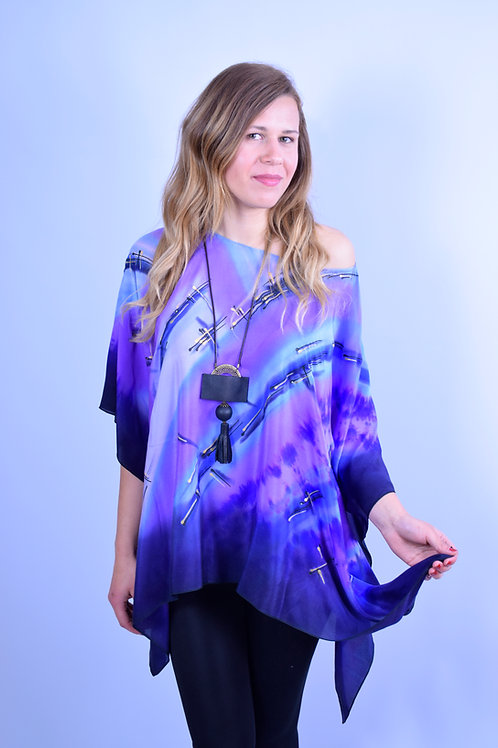 """Hand Painted Silk Kaftan """"Purple Rain"""""""
