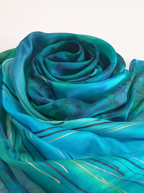 Hand-painted 100% Pure Silk Scarf inTurquoise, Blue, Green Scarf SC0170