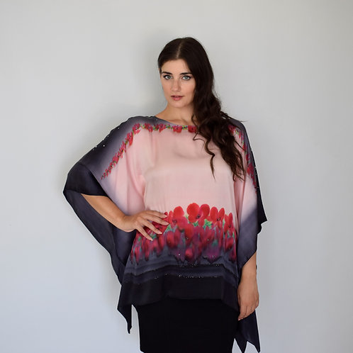 "Hand-painted Silk Kaftan ""Red small flowers"""