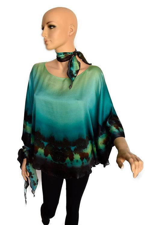 "Hand-painted Silk Kaftan ""Aurora"""