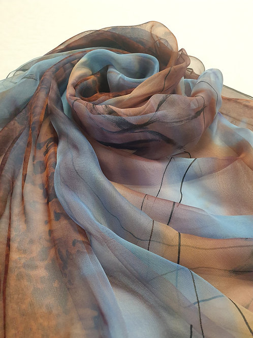 Hand-painted 100% Silk Scarf SC0104