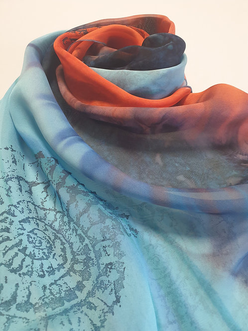 Hand-painted 100% Silk Scarf SC0030