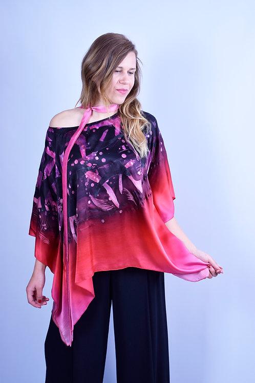 "Hand-painted Silk Kaftan ""Bright Abstract"""