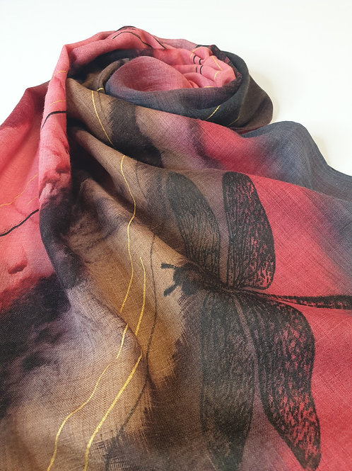 Hand-painted 100% Merino Wool Scarf SC0028