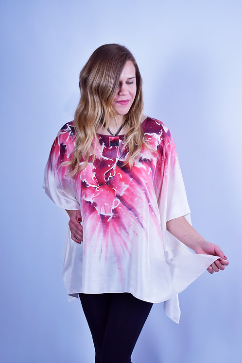"Hand-painted Silk Kaftan ""Circle of Flowers"""