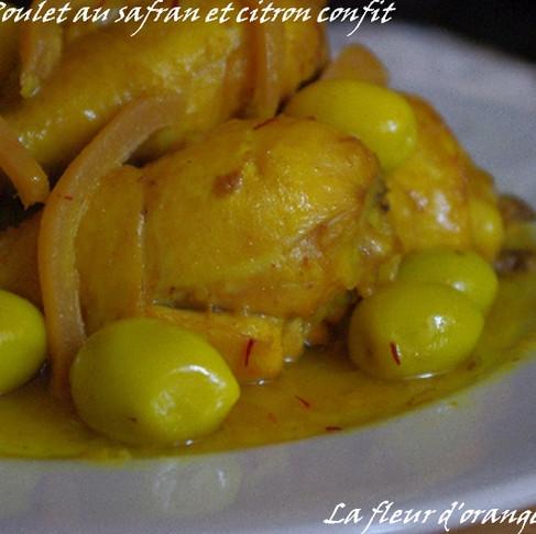 Recette : Tajine de poulet aux olives, citrons confits et safran