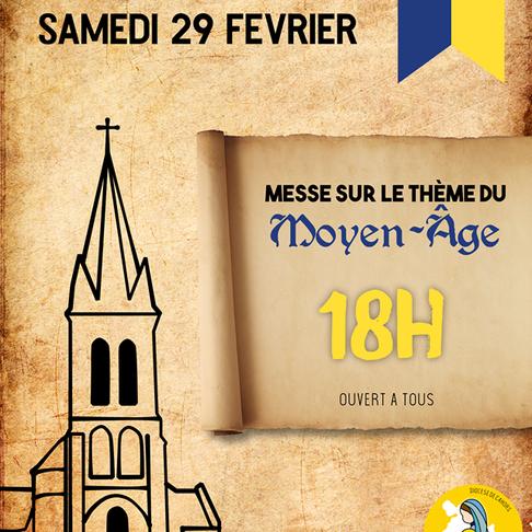 Messe sur le thème du moyen-âge à Crégols le 29 février 2020 à 18h00
