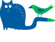 Cats and Birds; Keep cats safe and save bird lives, white font, logo of a blue cartoon cat with a green bird perched on its tail