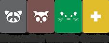 Kawartha Wildlife Centre, black font logo of four coloured boxes with white animal sillouettes, grey raccoon, brown owl, green mink, yellow plus sign