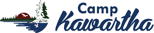 Camp Kawartha, dark blue font, logo is an image of a lake with a sunset, trees and a silhouette of a bird in the sun and water