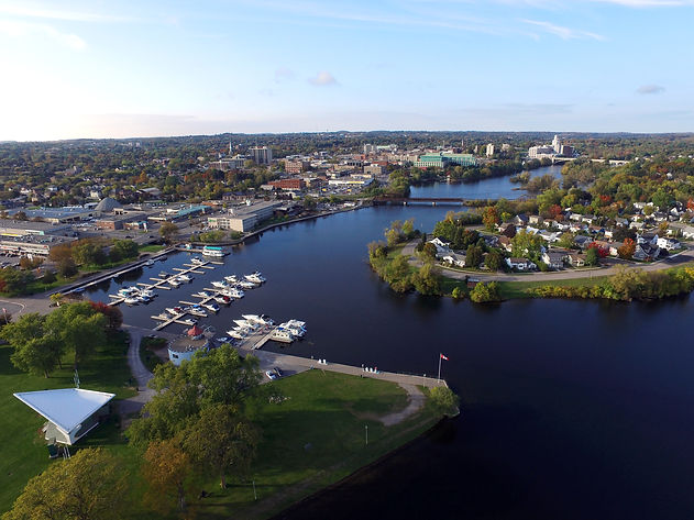 Downtown Peterborough aerial view