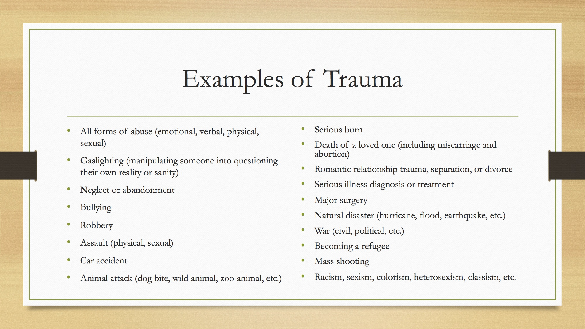 Examples of Trauma