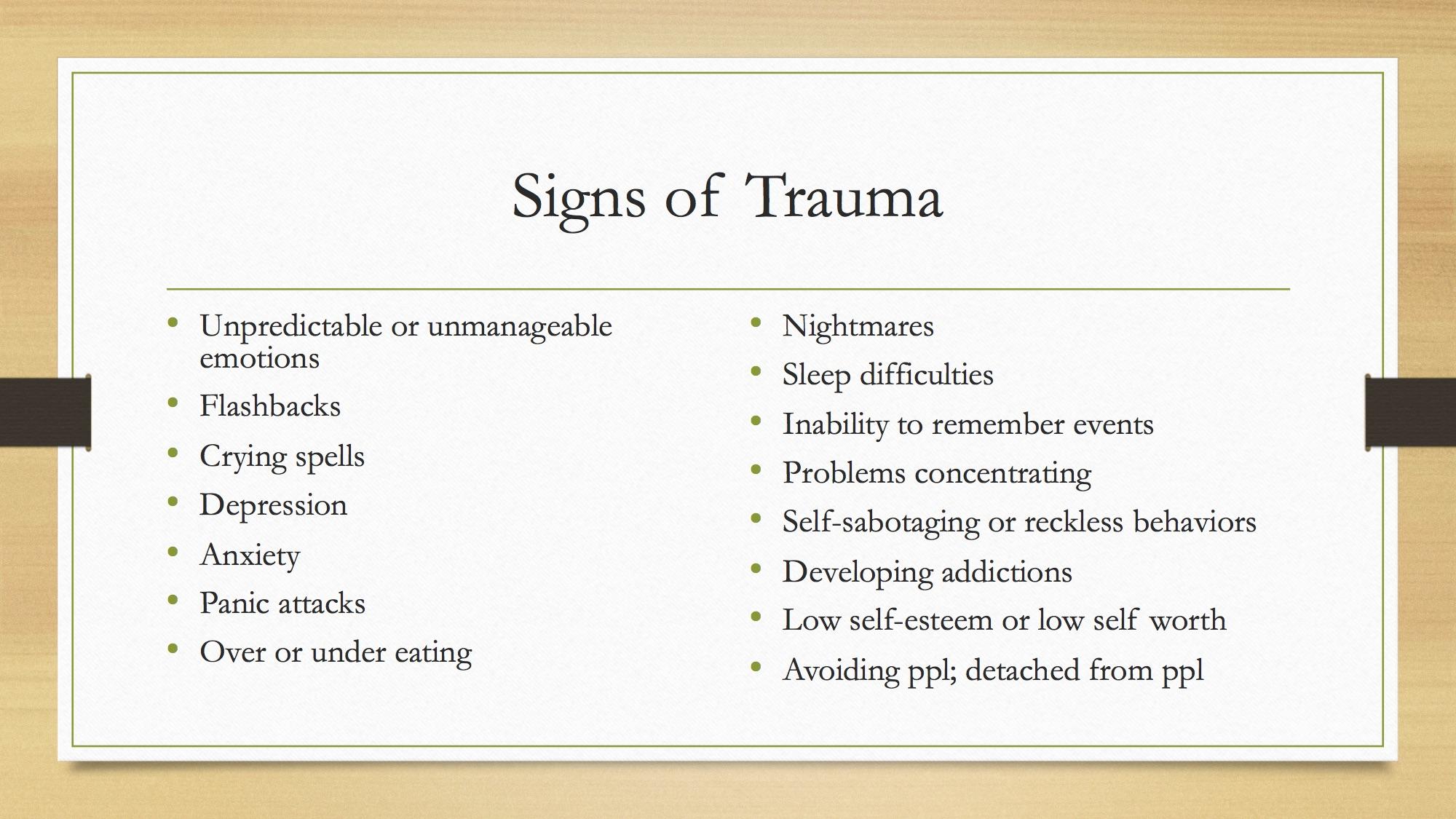 Signs of Trauma