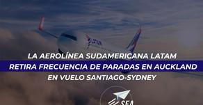 La Aerolínea Sudamericana Latam retira frecuencia de paradas en Auckland en vuelo Santiago-Sydney