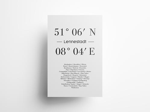 """Wandbild Koordinate """"Lennestadt"""""""