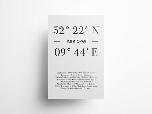 "Wandbild Koordinate ""Hannover"""