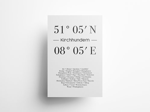 "Wandbild Koordinate ""Kirchhundem"""