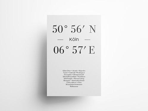 """Wandbild Koordinate """"Köln"""""""
