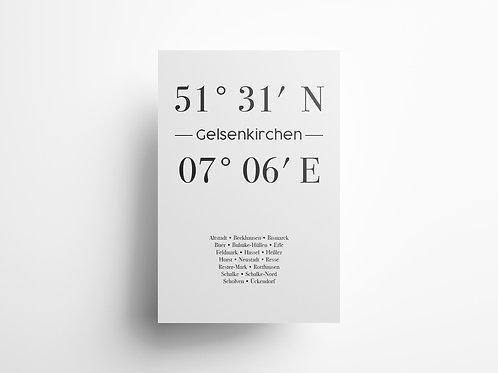 "Wandbild Koordinate ""Gelsenkirchen"""