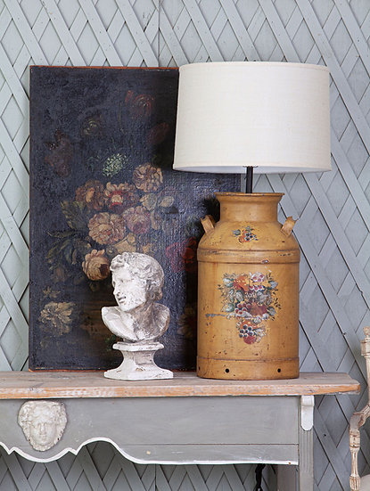 Large antique iron milk container lamp from the 1930's
