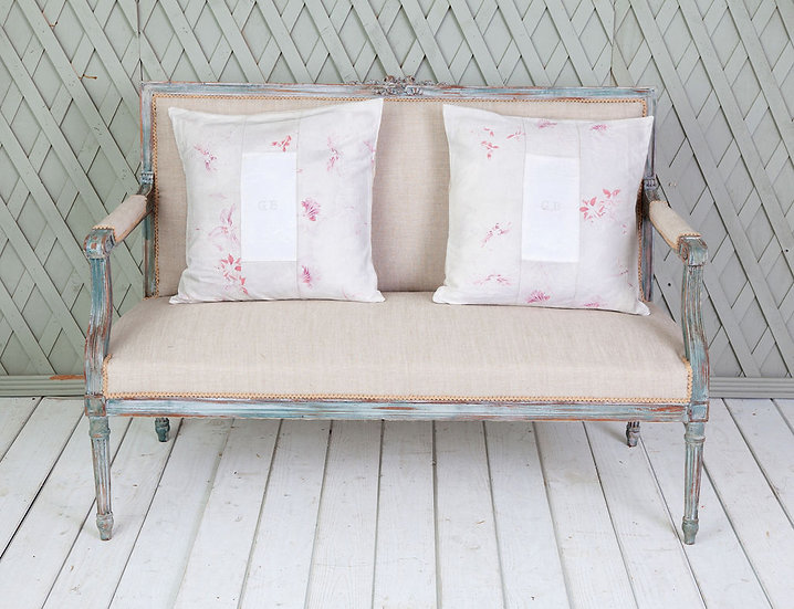 Antique 19th century French muted fabric GB cushion