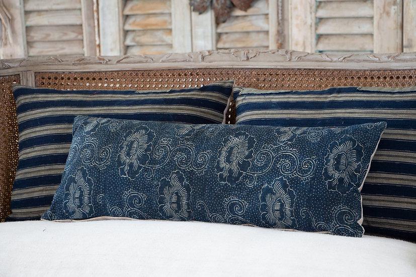 Indigo blue Katazome floral and dot print long rectangular cushion