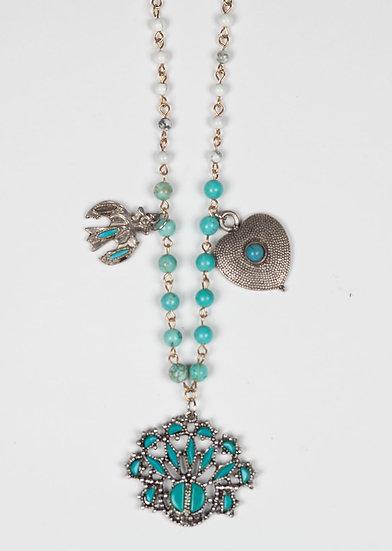 Silver Antique native american three pendant necklace