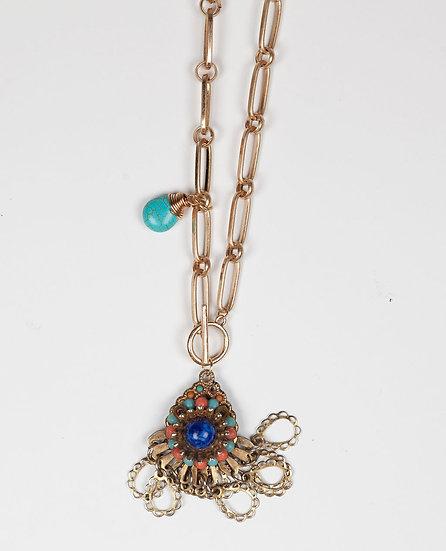 Antique blue drop coloured 1940's pendant necklace