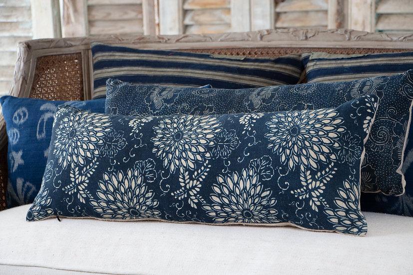 Deep Indigo blue Katazome petal textile cushion