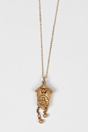 Antique Cuckoo clock pendant necklace