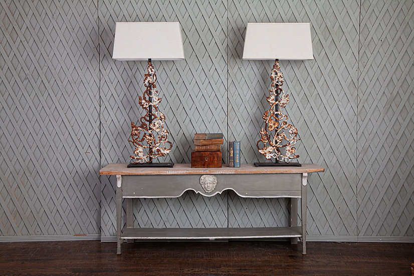 Tall Metal Lamp made from Architectural balustrade