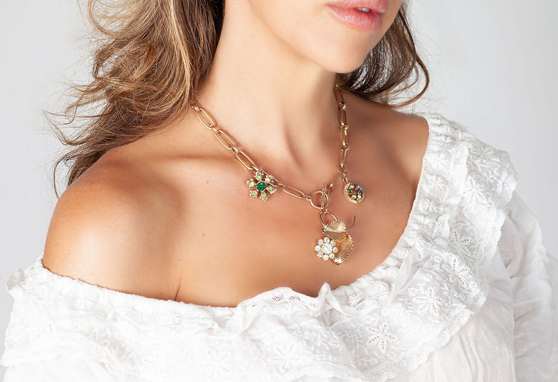 Flower statement necklace on gold chain