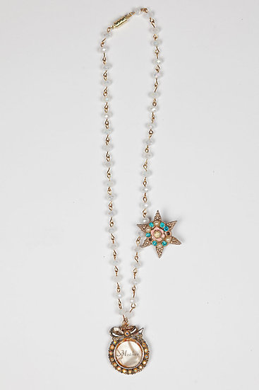 Antique 1930's Mother Star necklace on crystal chain