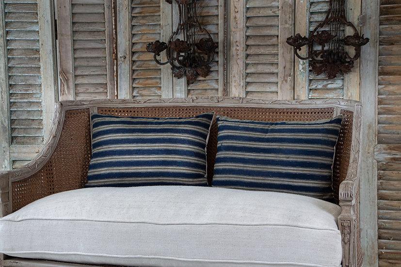 Indigo blue Shima stripe kimono textile with beautiful original patchwork detail