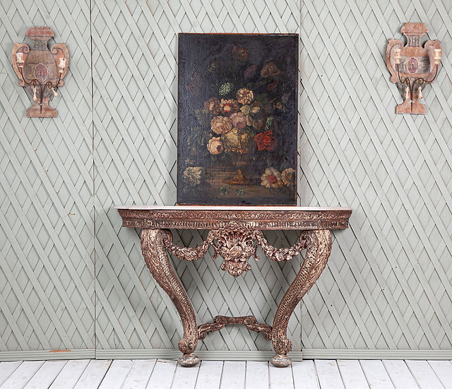 Wooden carved demi lune console table