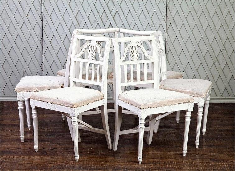 Set of Six antique Swedish chairs
